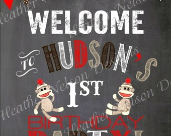 Brown Sock Monkey Birthday Party Digital Chalkboard Welcome Sign