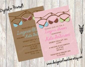 Brassiere Digital Lingerie Shower Invitation
