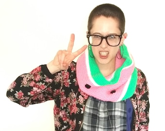 Watermelon Snood. Handmade pink, green and white infinity scarf with polka dot detail