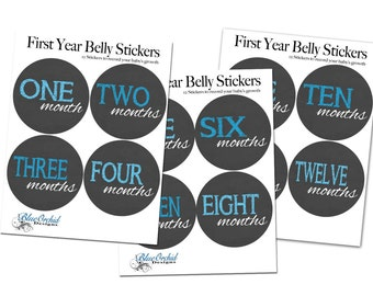 Monthly Belly Stickers, Baby Boy, Blue