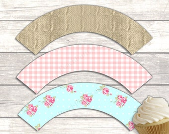 Shabby chic cupcake wrappers (INSTANT DOWNLOAD) - Wedding cupcake wrappers - Floral cupcake wrappers - Cupcake wrappers printable MU007