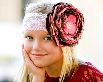 Light pink and Brown Cheetah Singed Flower Headband
