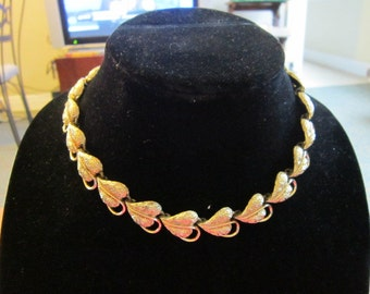 Vintage Designer Signed CORO Heart Shaped NECKLACE Gold Tone