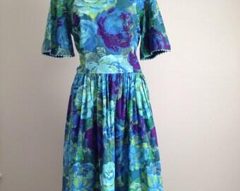 1950s 50s vintage day dress, large floral purple turquoise blue green auqua