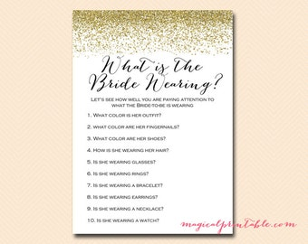 what is the bride wearing, memory game, bridal shower printable game, Gold Glitter Bridal Shower, Bachelorette, Wedding Shower BS88