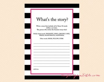 what's the story, write a story, how they met, Hot Pink, Black Stripes Bridal Shower Game, Modern Bridal Shower Game, Wedding Shower BS22