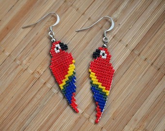 Beaded Parrot Earrings - Scarlet Macaw