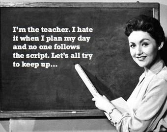 "AMUSING TEACHER VINTAGE Back to School card : ""Try to keep up"" funny, retro, blackboard, teaching card [814-226]"