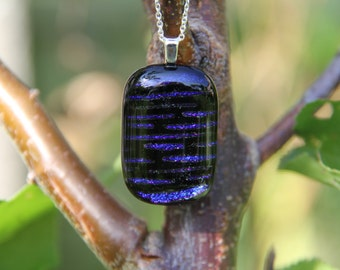 Cobalt blue stripes dichroic pendant, dichroic glass necklace