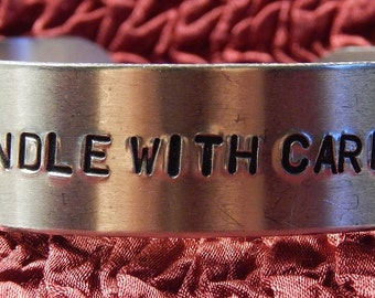 Medium Hand Stamped Aluminum Wrist Cuff Bracelet 5/8 Inch