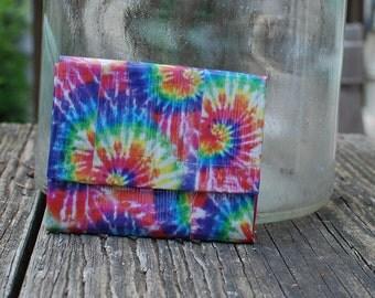 Rainbow Tie Dye Duct Tape Mini Accordion Wallet
