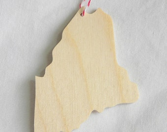 Unfinished wooden Maine state shape, set of 6, diy silhouette ornament / gift / memento / favor for holiday, wedding, party