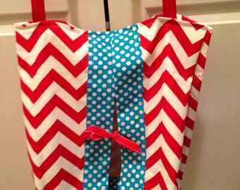 Diaper Stacker-Red Chevron and Turquoise