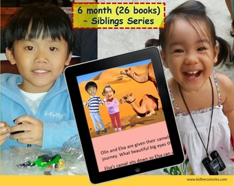 26x Personalized Children's Books with Photo- 6 mth (26 titles) set of personalized kids eBooks for Siblings (2-3 kids) with photos & names.