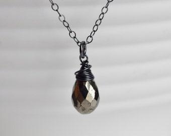 Pyrite necklace, iron pyrite, oxidized sterling silver, genuine gemstone, modern jewelry, business stone, energy