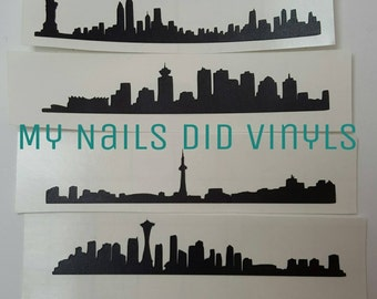 City Skyline Nail Vinyls Stencils Paris London New York Seattle Chicago Vancouver Toronto Moscow
