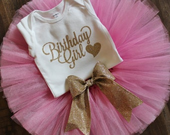 Pink and Gold Birthday Outfit // Gold Glitter Bow Tutu // Photo Prop Tutu // Birthday Tutu Set // First Birthday Outfit Girl