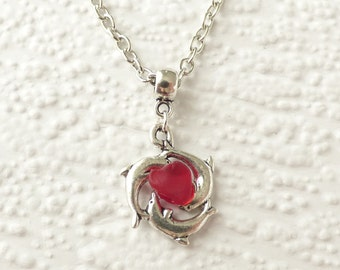 Dolphin pendant necklace with genuine english sea glass, scarlet red seaglass, antique silver pendant