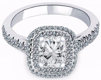 Halo Set Cushion Cut Diamond Engagement Ring, 1.32ct Diamond Engagement Ring, Halo Set Diamond Ring, 18K White Gold Single Band Ring