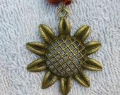"Sunflower Necklace 14"" long"