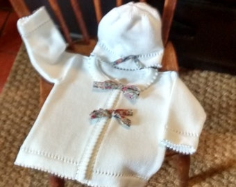 0-12 Months Knitwear, Baby's Cotton Jacket with Liberty Tana Lawn Ties.