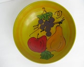 Large Yellow Lacquerware Bowl with Fruit Centerpiece Bowl