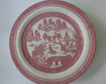 Set of 10 Chinoiserie Wood and Sons Woods Ware Pink Canton Dinner Plates, Pink Transferware, Red Transferware