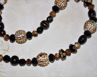 Tiger Stripe Beads, Amber Bead Necklace, Tigereye Beads, Black Necklace, 27 Inch Necklace, Glass Bead Necklace, Lampwork Beads