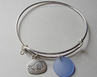 "Whale Charm  Back Side "" At Sea I Find Peace "" / Lt. Sapphire SEA GLASS W/ Silver Infinity  Drop / Adjustable Bangle / Gift For Her  Usa GL1"
