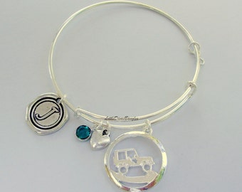 Off Road /JEEP Charm Bangle / Personalize W/  Swarovski Birthstone / Jeep Bangle /- Beach bangle - Gift For Yer - Made In USA  J1