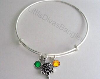 REGISTERED NURSE Adjustable Bangle W/ Birthstone Crystal  Drops / Bangle Bracelet / Jewelry /  Gift For Her-  Usa N1