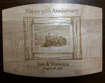 Personalized Maple Cutting Board wedding anniversary gift farmer tractor kitchen.