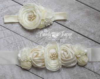 Ivory Sash-Flower Girl Sash-Rustic Flower Sash-Vintage Bridal Sash-Country flower girl sash-Girl wedding sash