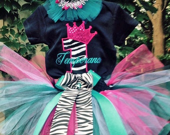 Pink Turquoise Zebra 1st Birthday Princess Crown Outfit Onesie Tutu and FREE Hair Bow Personalized
