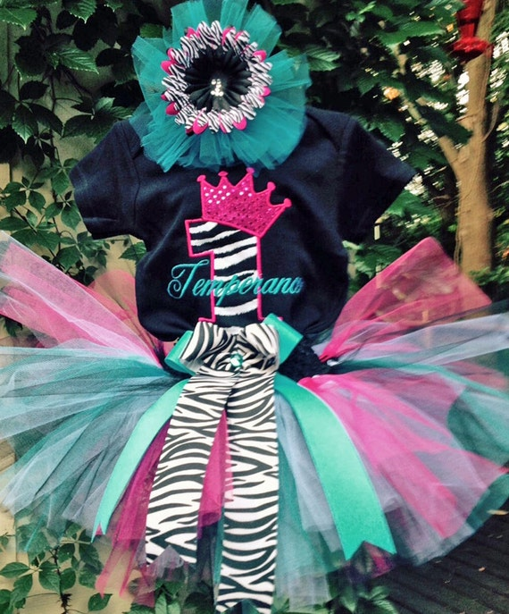 Pink Zebra Turquoise 1st Birthday Outfit Onesie Tutu And FREE