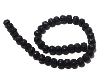 Lava Rondelle Beads, Faceted Lava Rock beads, Lava Beads, Huge 12mm Each, 16 Inch Strand, SKU-MM5