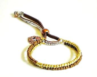 Antique gold and bronze beaded dangle bangle Bracelet - minimalist boho chic 2 layers bracelet