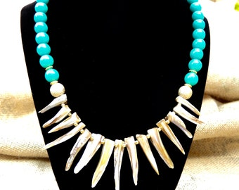 Shell Spike Bib Necklace with Turquoise Colored Shell Beads