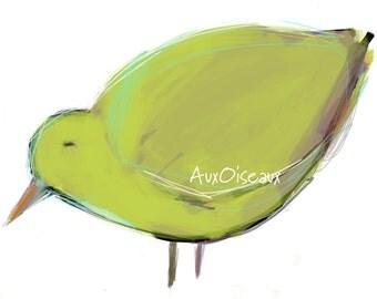 Oiseau jaune-vert, mauve, multicolore, dessin numérique original, impression de qualité, type giclée. Cadre non-inclus.