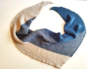 Blue and White Stripe Shawl