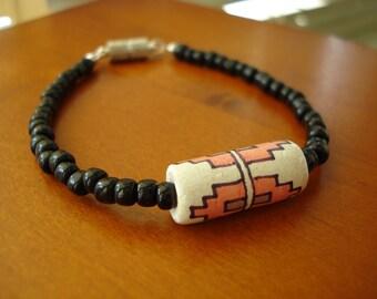 Tribal Bead Bracelet, Southwest Jewelry, Black Bead Bracelet, Clay Bead Bracelet, Glass Bead Bracelet, Beaded Bracelet, Magnetic Bracelet