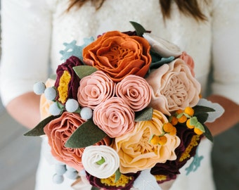 bridal handmade wool felt flower bouquet // custom bouquet // succulent bouquet // please read carefully before purchase!