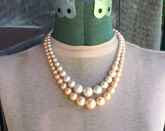 Vintage Pink Double Strand Necklace-50's or 60's-Japan