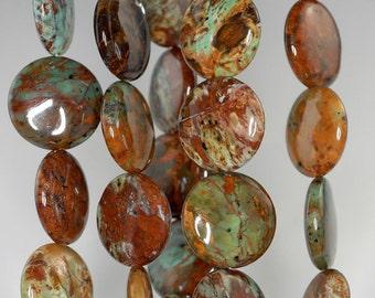 20mm African Green Opal Gemstone Flat Round Circle Loose Beads 15.5 inch Full Strand BULK LOT 1,2,6 (90185892-125)