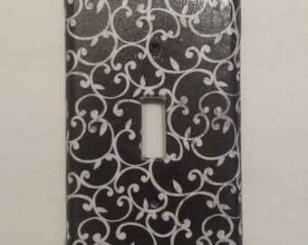 Light switch plate in black and white
