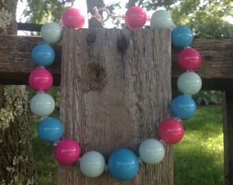 Chunky bubble gum bead necklace, chunky bead necklace, chunky necklace, bubblegum necklace, chunky bubblegum necklace, girls chunky necklace