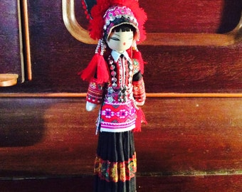 Asian  hand made  spool doll