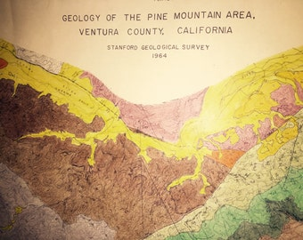 "Large Geological Survey Map of Ventura County CA 1964 - 27 1/2"" x 48"""