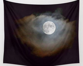 Moon tapestry, black tapestry, large wall art, tapestry wall hanging, full moon, large wall hanging, black home décor, space décor, moon art