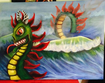 sea monster, original large scale oil painting